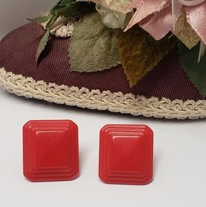 Red Vintage Retro Earrings